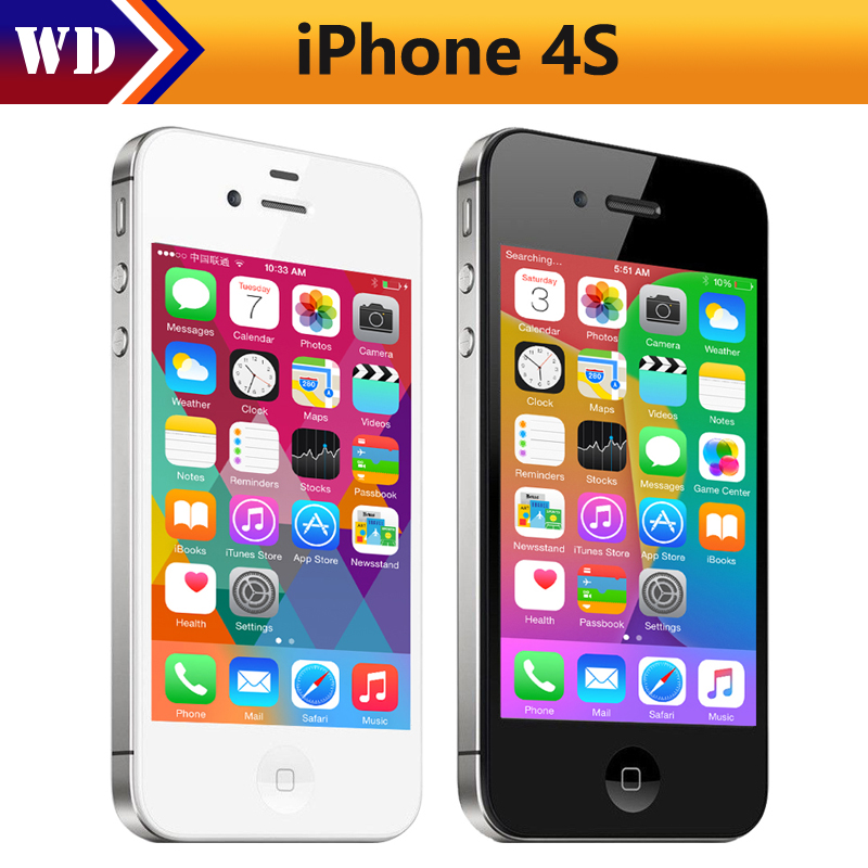 Original Unlocked iPhone 4S Mobile Phone 16GB 32GB iphone 4s ROM Dual core WCDMA WIFI GPS 8MP Camera Cell phone Used(China (Mainland))