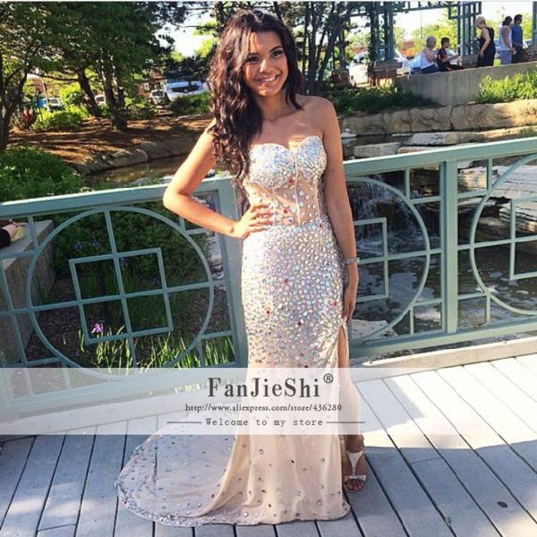 2015 Vestido De Festa Floor-Length Sweetheart Sleeveless Crystal Slit Backless Custom Made Luxury Mermaid Prom Dresses - Suzhou FanJieShi Wedding Dress Co., Ltd. store