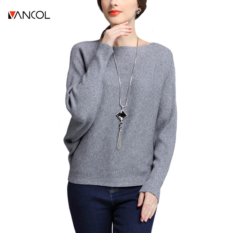 vancol 2016 fashion ladies christmas sweater red gery knitwear winter batwing Sleeve loose sweaters womens knitted jumper(China (Mainland))