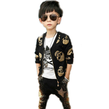 children clothing sets 2016 new spring skull designs printed children clothing sets top jackets +harem pants toddler boy clothes