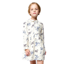 toddler girl dresses 2016 new baby girl dress doll collar floral printed princess costume spring long sleeve shirt dress 2-7T