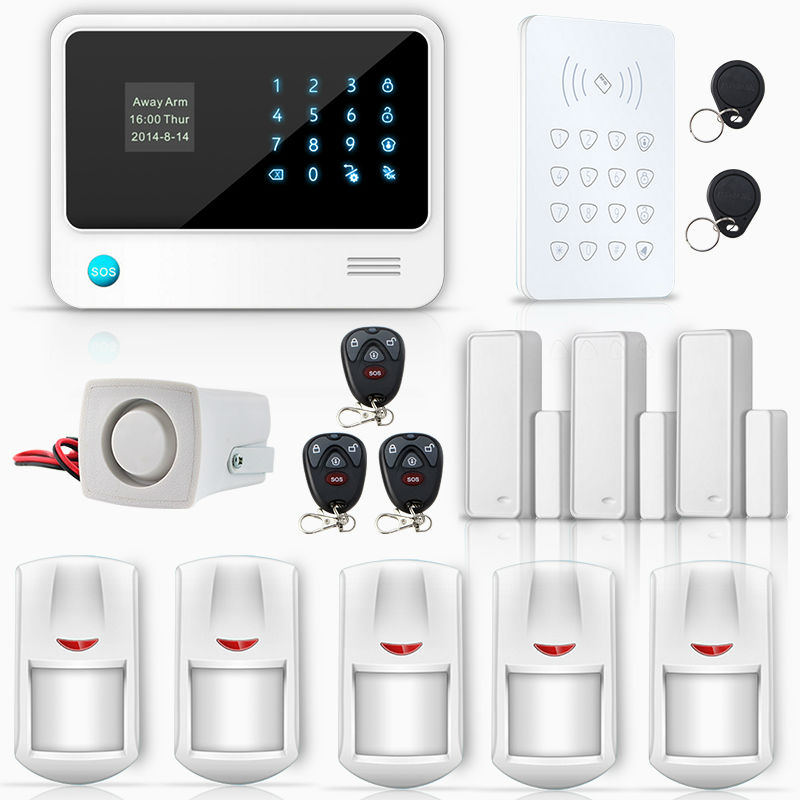 G90B 5 Language APP Control WIFI GSM GPRS Buglar Security Alarm System with Wireless Touch Keypad RFID card(China (Mainland))