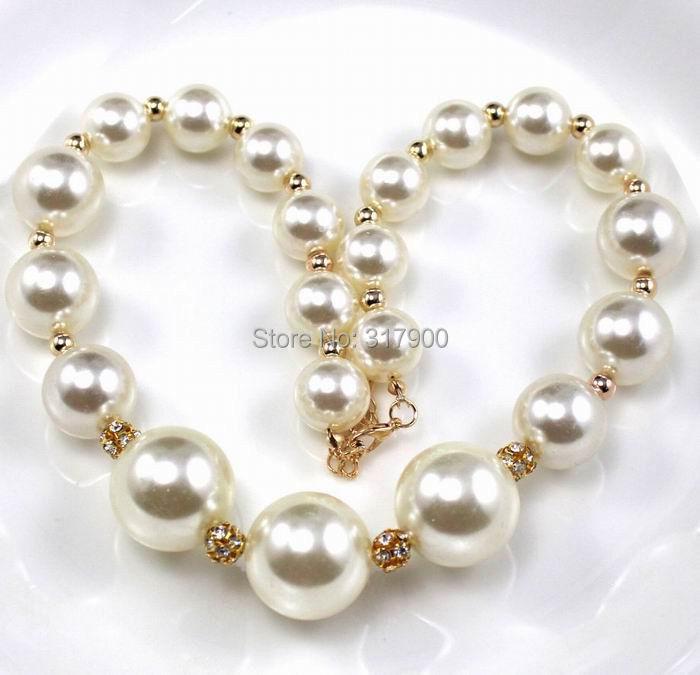 New 10-14mm fashion beautiful Venetian White Shell pearl necklace(China (Mainland))