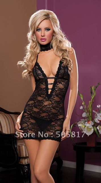 15% off  Free shipping Sexy Women Elegant Lace Embroidery Babydoll Lingeries Halter Night Club Wear Sexy Chemise Black  S68811