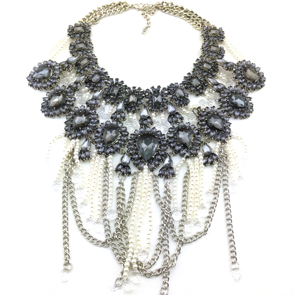 Free shipping new fashion brands ZA gray crystal Necklaces Pendants statement Necklace jewelry 2014 wholesale for