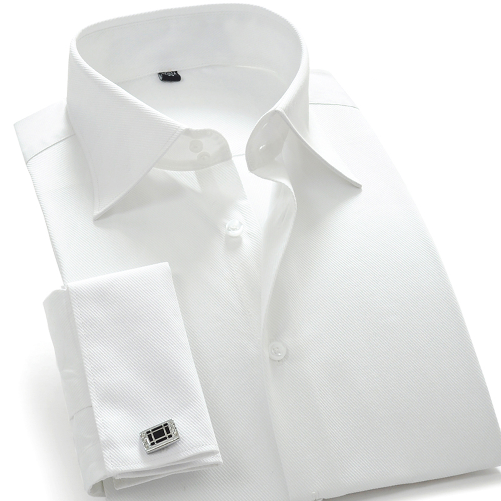 Online buy wholesale french cuff dress shirts from china for Mens white french cuff shirt