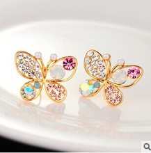 2014 New Fashion Vintage Jewelry Imitation Diamond Colorful Rhinestone Gold Butterfly Pearl Crystal Stud Earrings for Women E47