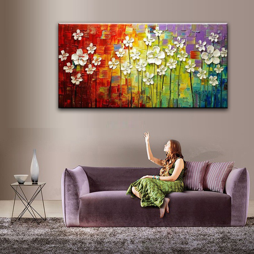 Buy oil painting Home decoration high quality canvas Flower  knife painting pictures NO Framework painting Oil cheap