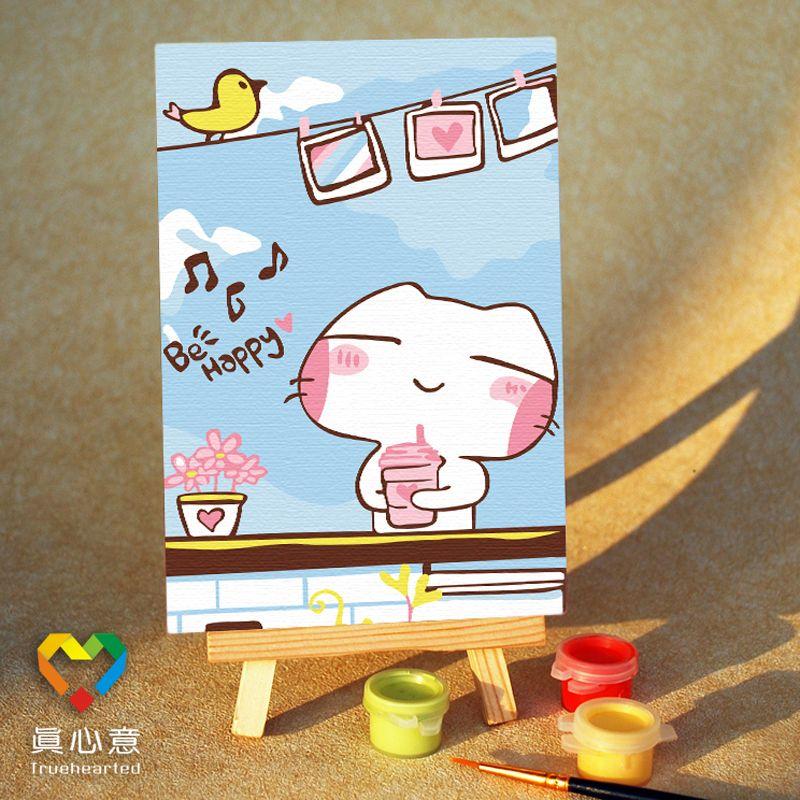 Diy digital oil painting mini cartoon painting - 10 15 belt easel
