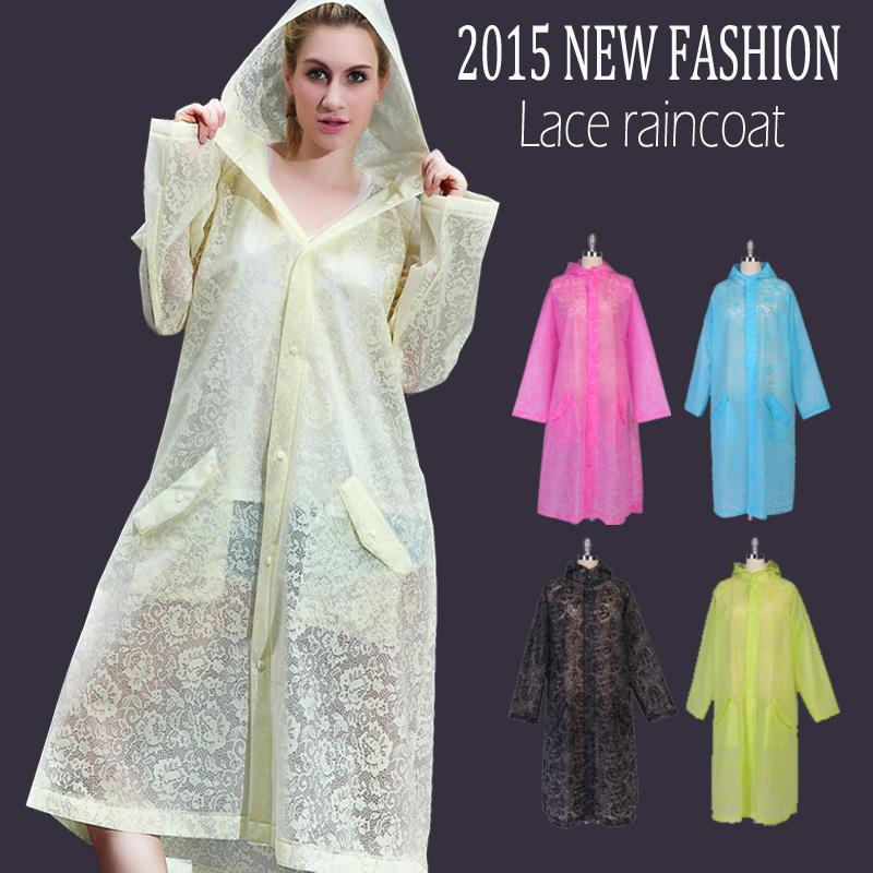 EVA raincoat women,2015 new fashion lace pattern raincoats,Outdoor Rainwear Waterproof Poncho Over Knee Length Rain Coat(China (Mainland))