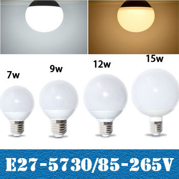 Гаджет  Full New 100% 360 degree LED light  SMD 5730 E27 5W 7W 9W 12W 15W LED Ball Bulb AC85V - 265V LED lamp Chandelier light ZM00871 None Свет и освещение