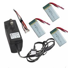 Free Shipping! 3in1 Cable+AC Charger+3x 7.4V 1200mAh 30C Lipo Batteries For MJX X101 RC Drone