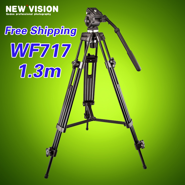 Free DHL WEIFENG 717 1.3m 6kg bear weight professional video camera tripod fluid head pan tilt(China (Mainland))