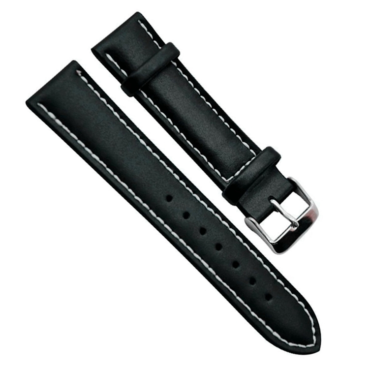 Hot ! 18mm 20mm 22mm Genuine Leather Watch Strap Silver Pin Buckle Bla
