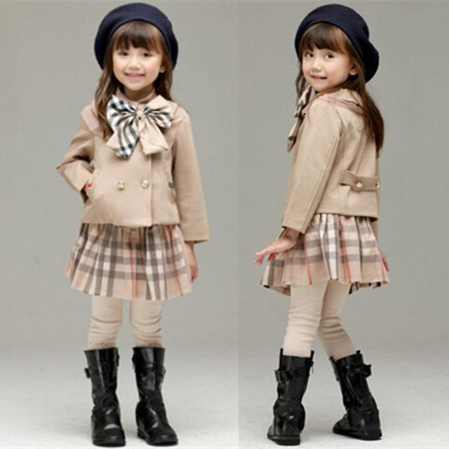 Осень дети девушки одежды комплект ребенок плед с длинным рукавом + юбка девушка ...