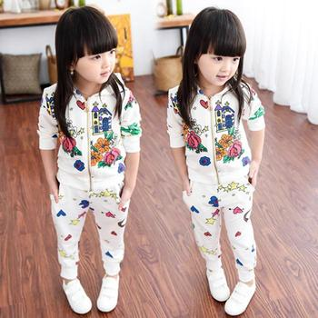 2015 new fashion kids clothes girls clothing sets spring autumn white floral jacket hooded + long pants children sopr suit
