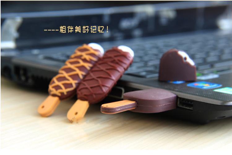 50pcs/lot cute pvc cartoon ice cream model USB 3.0 8GB-32GB high-speed memory stick pen drive gift usb(China (Mainland))