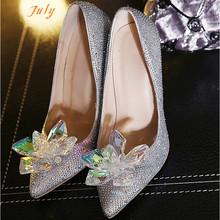 2015 Adults Movie Lace High Heels Women Wedding Shoes Thin Heel Rhinestone Platform Butterfly Cinderella Crystal Shoes(China (Mainland))
