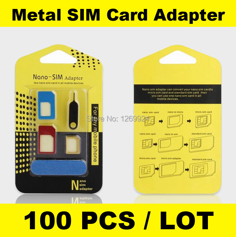 X 100 High Quality Metal 5 in 1 Nano Sim Card Adapters Micro Sim Stander Sim Card SIM Card Tools For All Phones With Retail Box(China (Mainland))