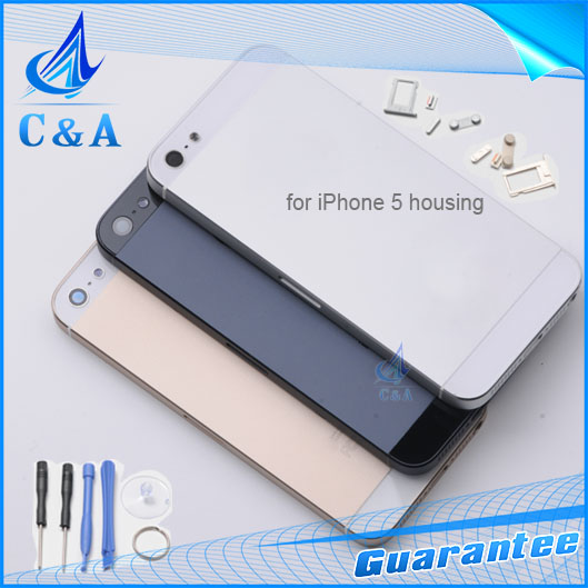 1 piece free shipping new replacement parts for iphone 5 5g back housing metal alloy back cover with buttons with sim card tray(China (Mainland))