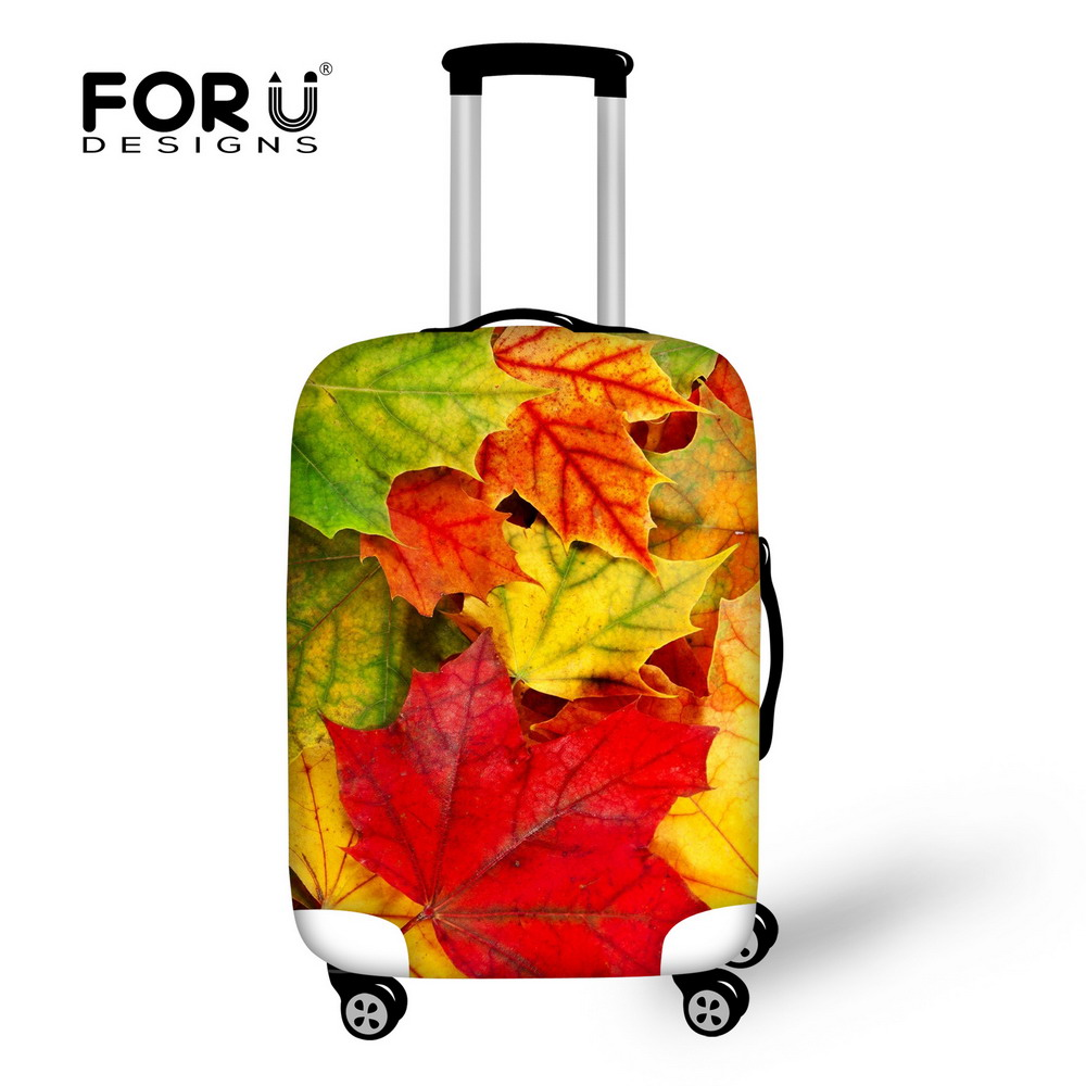 Fashion Autumn Fallen Leaves Printing Luggage Covers Romantic Maple Outdoor Travel Accessories Orange Suitcase Protective Covers(China (Mainland))