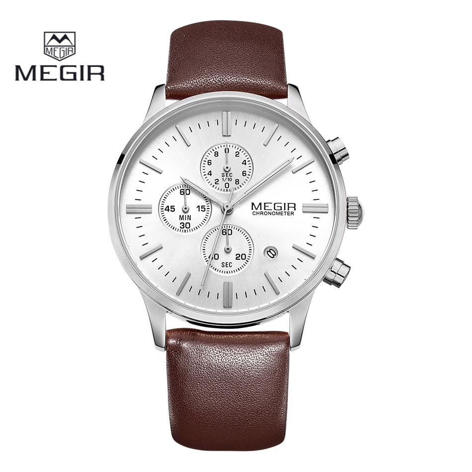 2016 MEGIR Men Chronograph Watch Brown Silver Mens Top Brand Luxury Quartz Casual Fashion Watches Men Wristwatches Montre Homme<br><br>Aliexpress