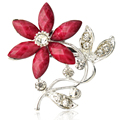 New Fashion Retro Gold Alloy Sterling silver rhinestone brooch Resin Flower Female Brooches for women pin