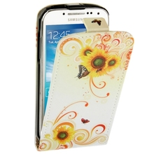 For Samsung Galaxy S 4 mini Case Butterfly and Daisy Pattern Vertical Leather Case for Samsung