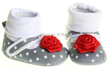 SanFu-- NWT baby girl Gray cotton first rose flower walkers shoes toddler  home shoes size 2 3 4 in US freeshiping(China (Mainland))