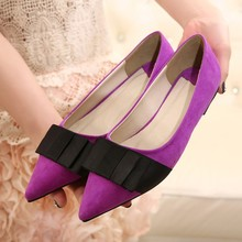 2015 new pointed black flat shallow mouth flattie bow OL sexy women shoe to replenishment