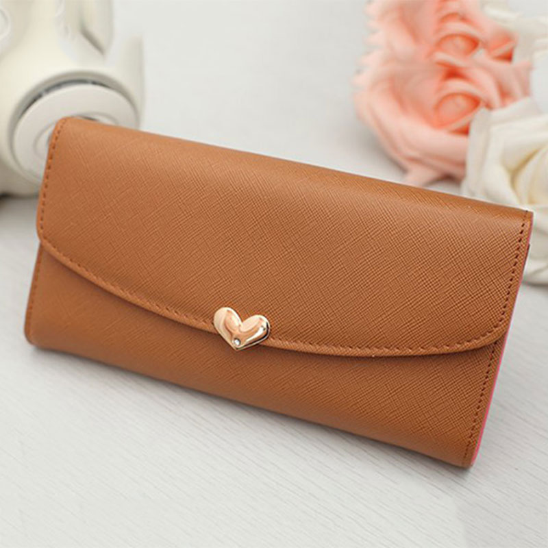 Free Shipping Fashion Women Lady Casual Long Clutch Heart Korean Card Holder Wallet Purse Pink/Coffee/Black/Red/Green/Blue(China (Mainland))