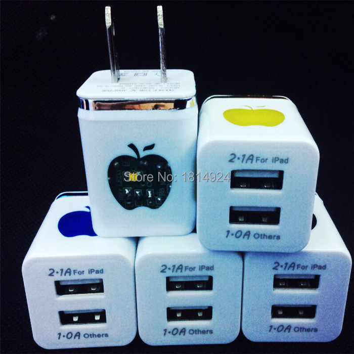 100pcs 2.1A+1A Colorful LED Flashing Lights Dual USB 2 Ports US AC Wall Charger Adapter For iPhone 4 5 6 for samsung for ipad(China (Mainland))