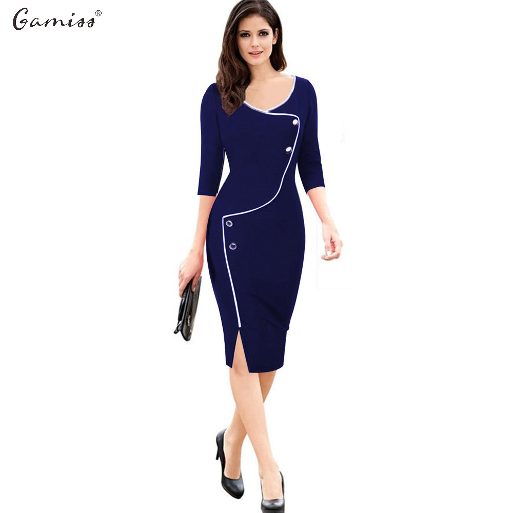 Gamiss Designer Women Dress Elegant Work Office Business Casual Pencil Sheath Vestidos Office Wear Outfits Plus Size Dresses(China (Mainland))