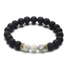 Vintage Style noir perlé couronne Bracelet femmes hommes Simple classique pierre de lave brin fait main Bracelet Boho élastique Pulseras(China)