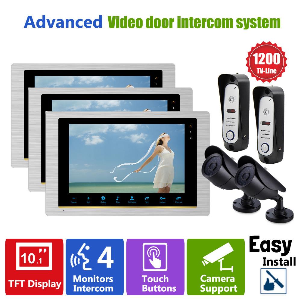 YSECU 10 INCH TFT Home Door Video Intercom Video Peelhole Door Camera 2 Door Access Control 2 CCTV Camera 3 Intercom Monitor(China (Mainland))