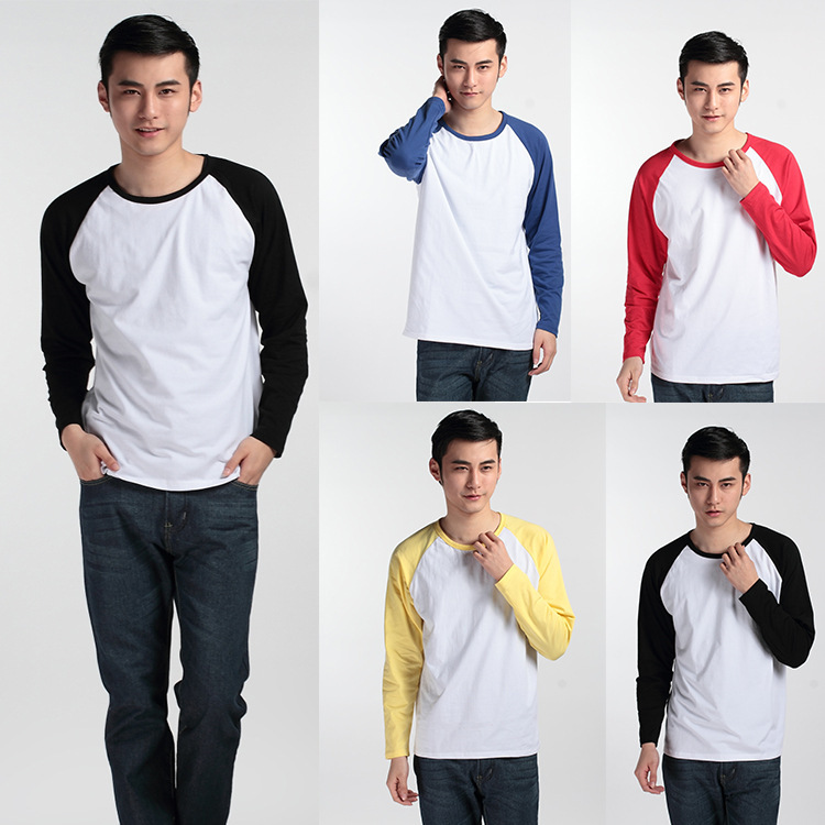 New Arrived Spring Autumn 100% Cotton Men's Casual Sport Raglan Sleeve Design Fashion Long-sleeved t-shirts Men cheap T shirts(China (Mainland))