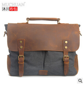 Brand new fashion cowhide genuine leather bag men canvas messenger bags laptop briefcase handbags sports shoulder bag MB00003(China (Mainland))
