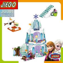 316pcs Dream Princess Elsa's Ice Castle Princess Anna Olaf Set Model Building Blocks Gifts Toys Compatible Legoe Friends(China (Mainland))