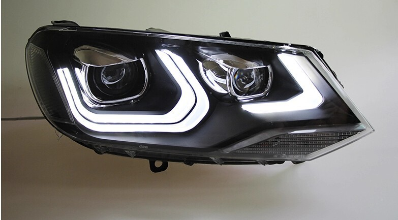 Auto Clud headlights for vw touareg 2011-2014 car styling bi xenon lens LED light guide DRL H7 xenon headlamps for vw touareg
