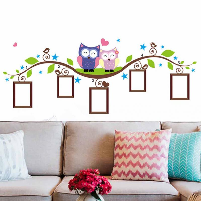 Couple Owl Photo Frame Kids Baby Room Wall Stickers Removable Family Vinyl Decal Art Modern Home Decor(China (Mainland))