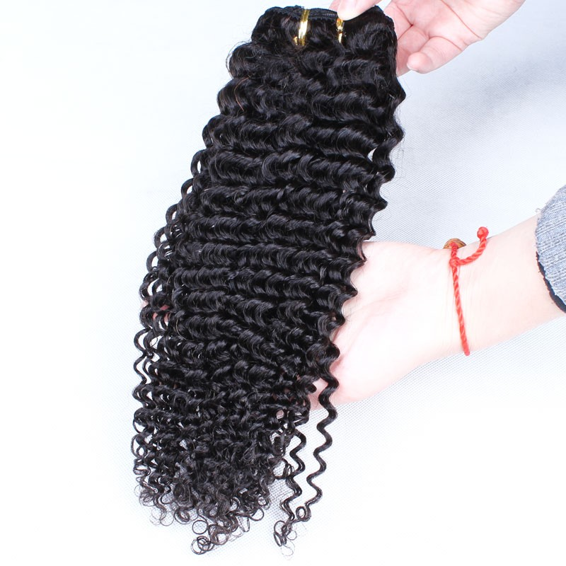 Brazilian Virgin Hair Kinky Curly Clip In Human Hair Extensions 7Pcs/Set 120g Natural Color Kinky Curly Human Hair Clip Ins 6A