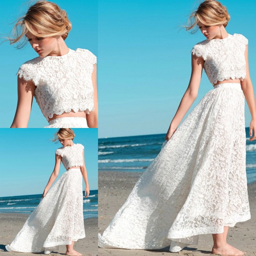 Fashionable lace long two pieces beach wedding dresses for Summer wedding dresses with sleeves