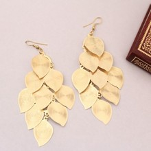 2 Colors Fashion Hot Selling Bohemia Personality Vintage Silver& Gold Leaf Earrings Jewelry For Women 2014 LS61(China (Mainland))