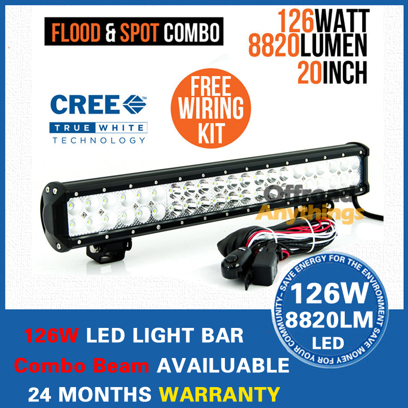 """20"""" 126W Cree LED Work Light Bar 8820LM Offroad Boat Truck 4WD Combo Beam Cree LED Driving Ligh Work Working Light Bar(China (Mainland))"""