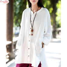 spring soft thick cotton linen solid dreaped finish oversized t-shirt lady long sleeve cardigan