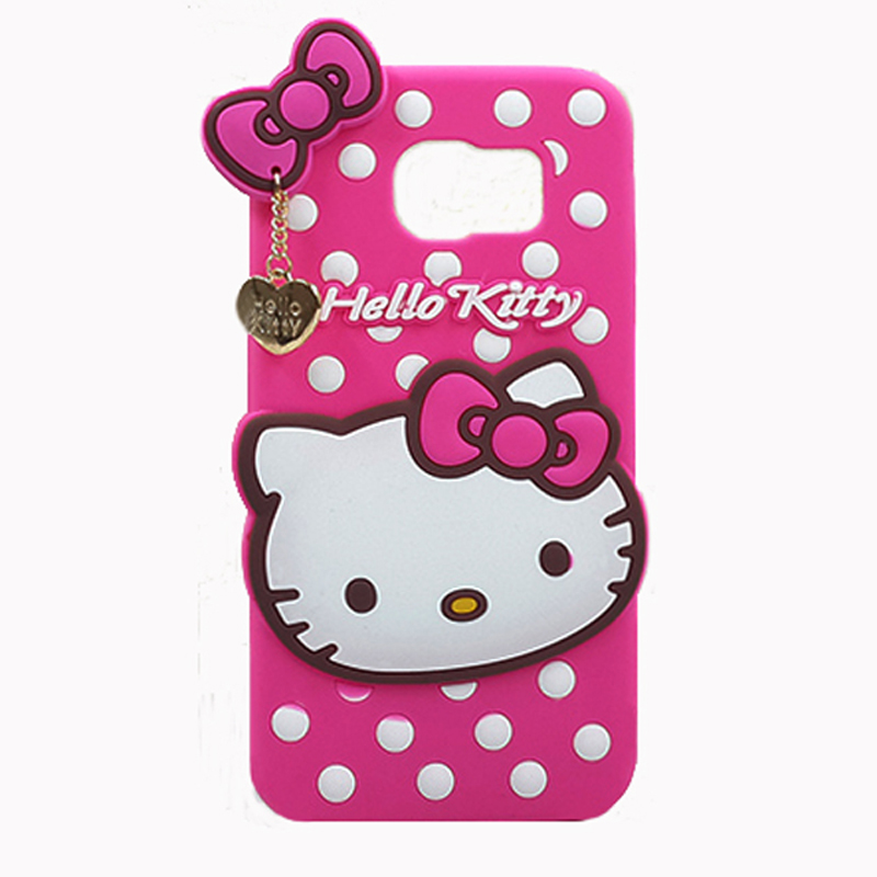 2016 Japan cartoon animals hello/kitty Metal Love Pendant Polka Dot Ribbon bow soft silicone case For Samsung galaxy cell phone(China (Mainland))