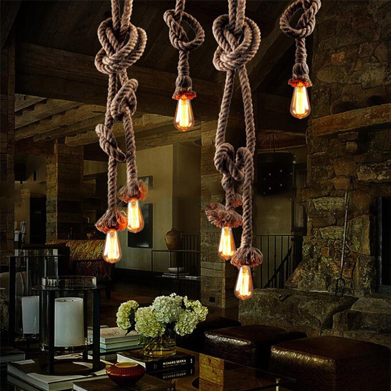 Vintage Rope Iron Ceiling Pan Pendant Lights Retro Industrial Loft Bar Hemp Rope Lamp Fixtures Lamparas Colgantes Luminaria Luz(China (Mainland))