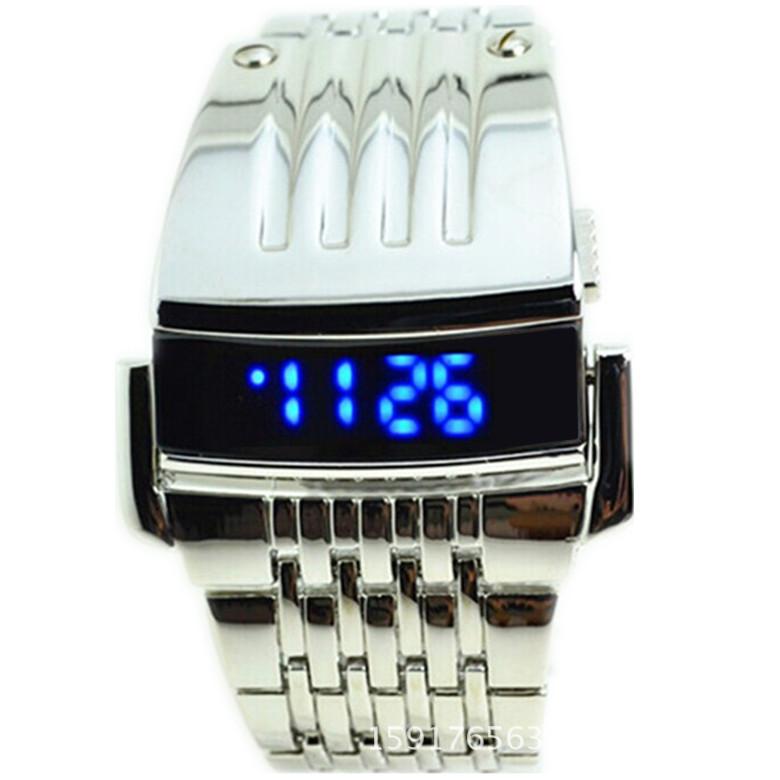 2016 New Fashion Digital Led Men Sports Watch Iron Man Design Military Watches Full Steel Stainless Men Clocks Free Shipping(China (Mainland))