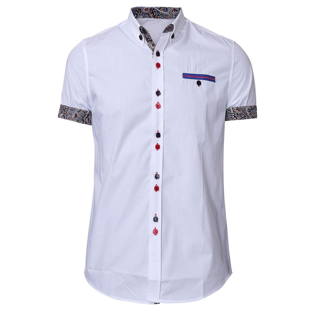 2015 новый летний мода мужчины с коротким длинным рукавом slim-подходят цветочные ударил цвет кнопки до бизнес рубашка свободного покроя camisa большой размер