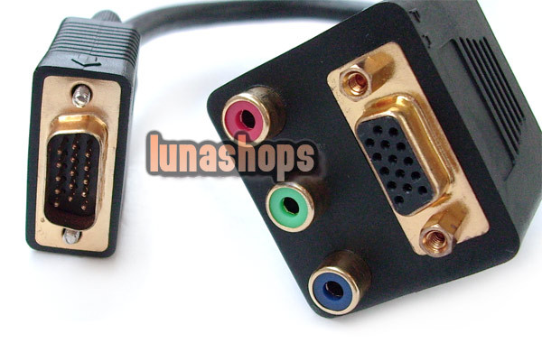 PC VGA Male To VGA Female 3 RCA Splitter Cable(China (Mainland))